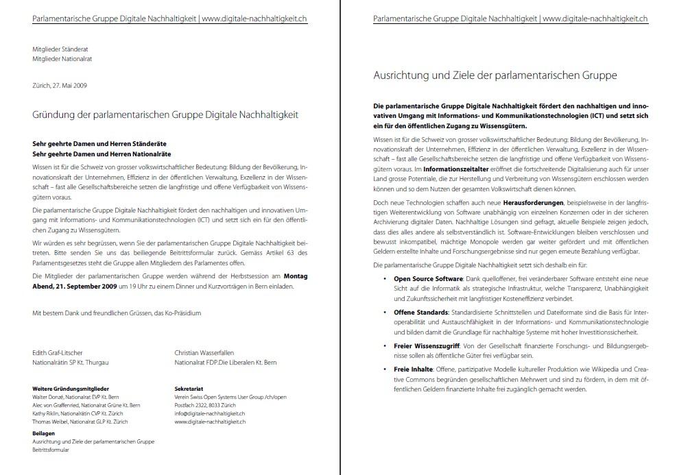 Einladung an alle Parlamentarier für den Beitritt zur parlamentarischen Gruppe Digitale Nachhaltigkeit (PDF auf deutsch und französisch)