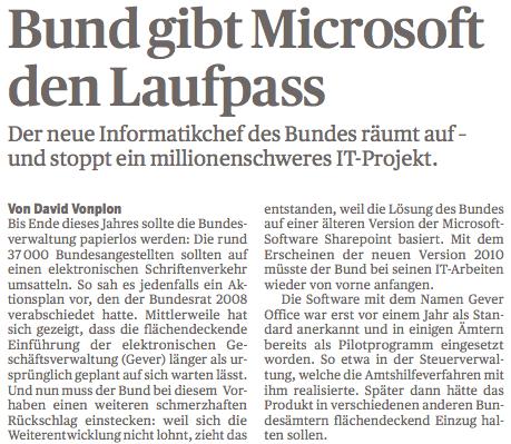 Bund gibt Microsoft den Laufpass