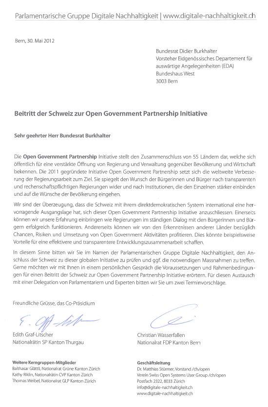 Brief An Bundesrat Didier Burkhalter Zur Open Government Partnership