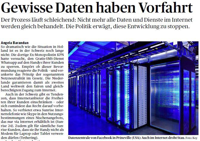 Der Bund und Tagesanzeiger: Gewisse Daten haben Vorfahrt