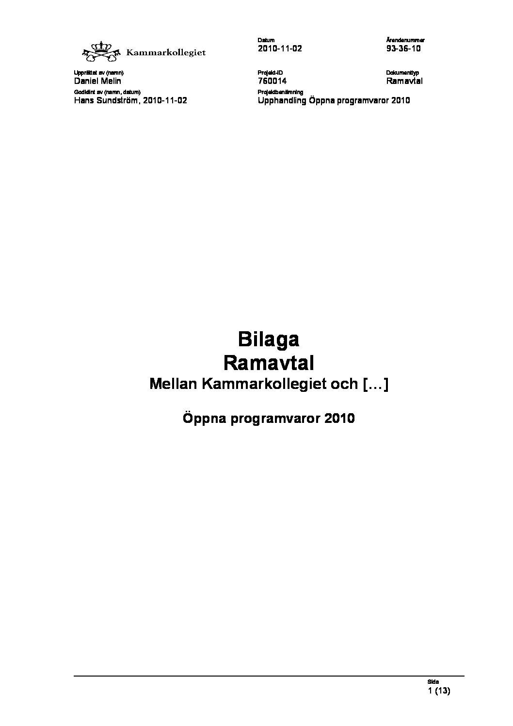 Bilaga Ramavtal