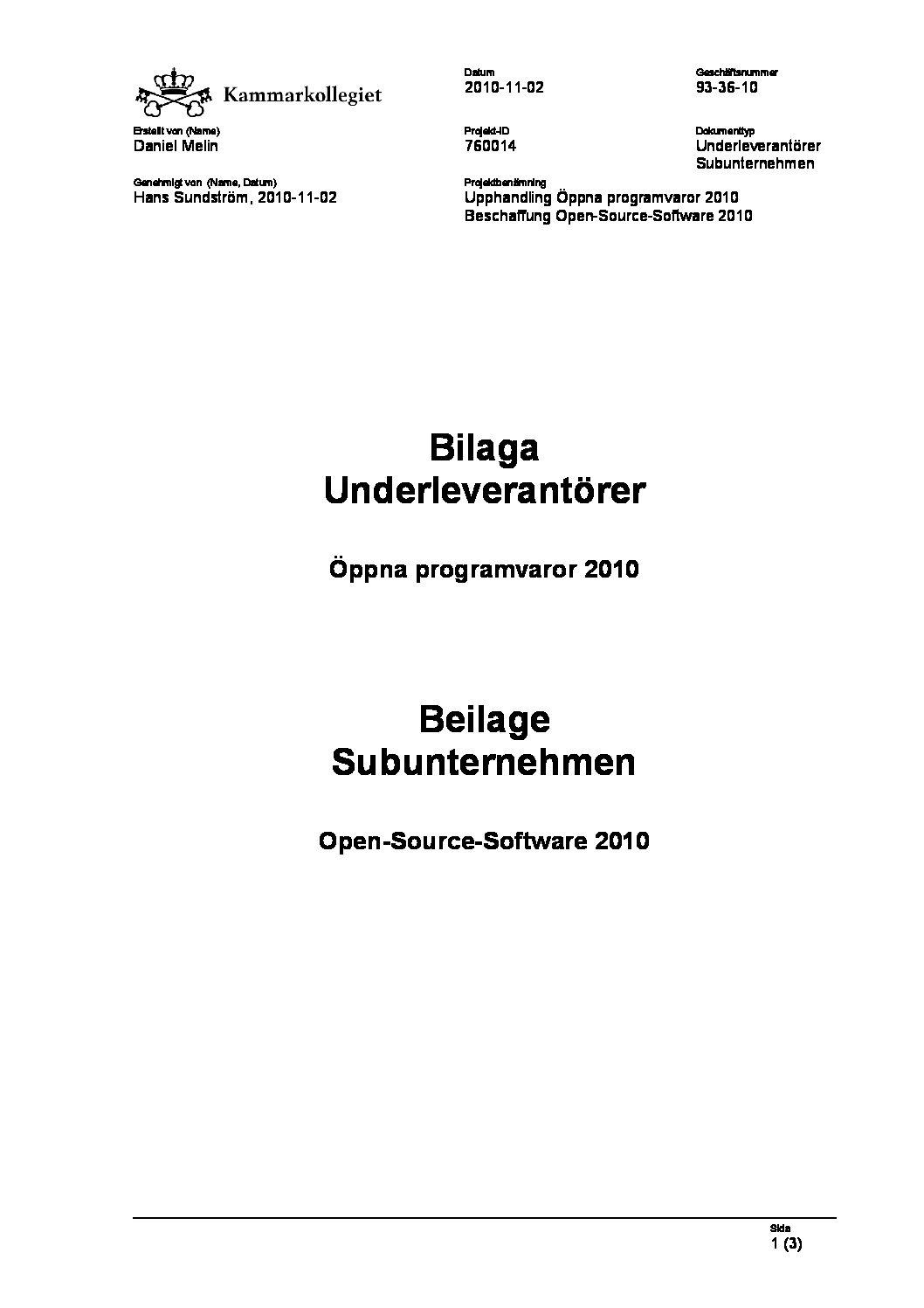 Bilaga Underleverantörer - Beilage Subunternehmer