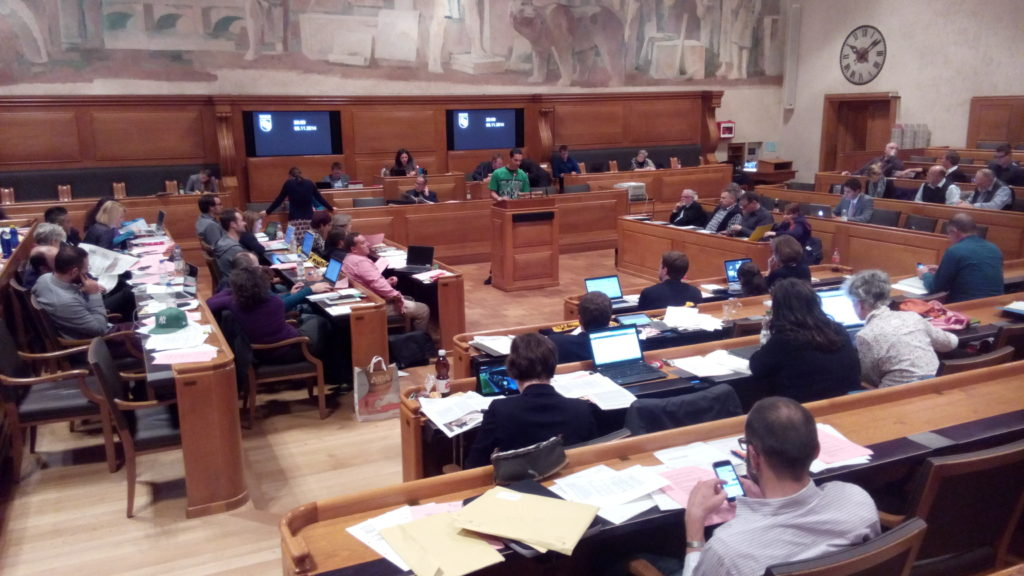Halua Pinto de Magalhães (SP) stellt die Motion im Berner Stadtrat vor
