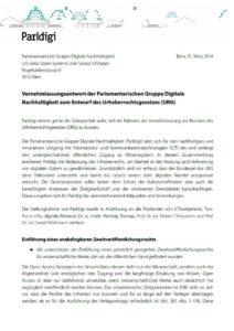 Vernehmlassungsantwort der Parlamentarischen Gruppe Digitale Nachhaltigkeit zum Entwurf des Urheberrechtsgesetzes (URG)