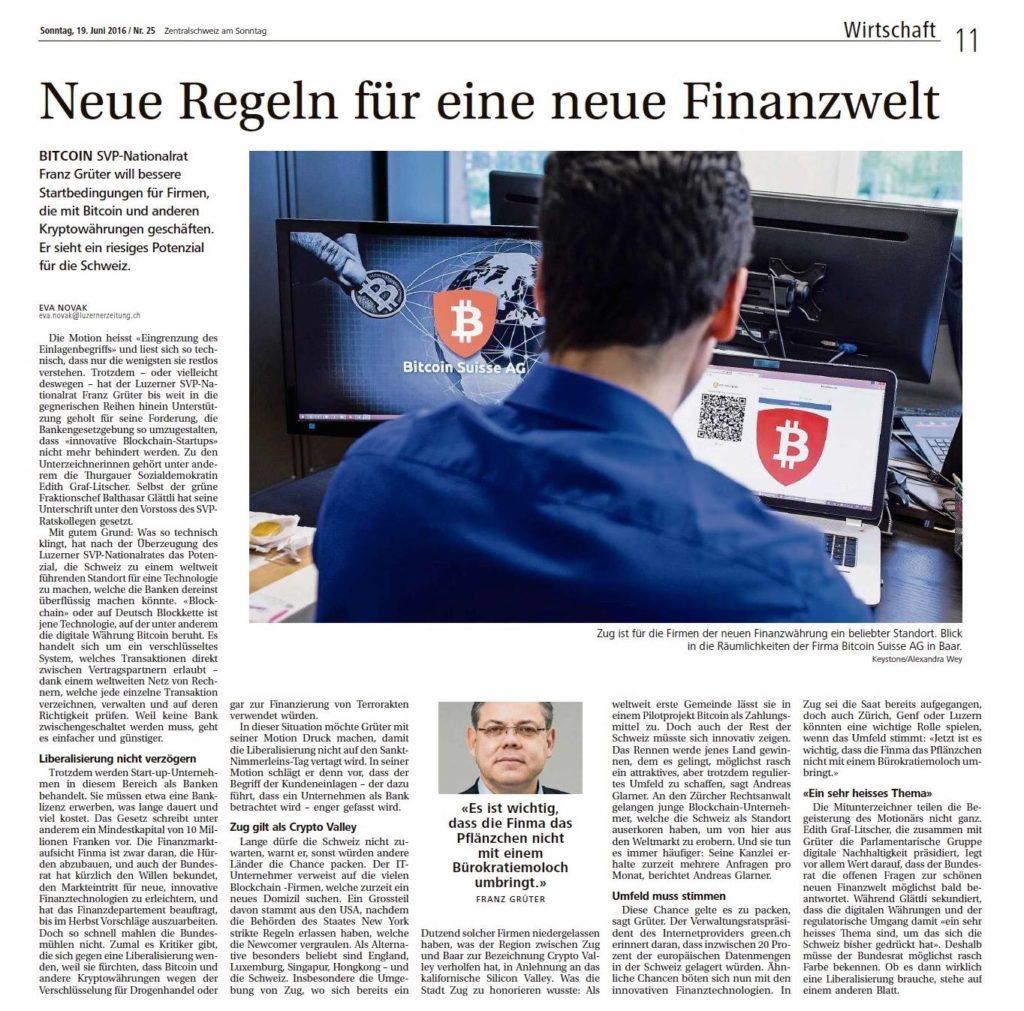 Zentralschweiz am Sonntag: Neue Regeln für eine neue Finanzwelt