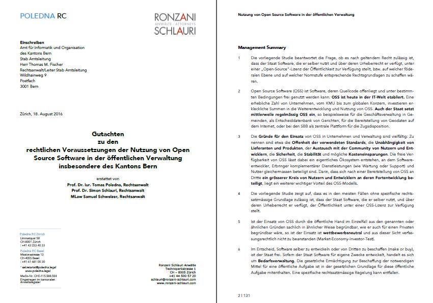 Gutachten zu den rechtlichen Voraussetzungen der Nutzung von Open Source Software in der öffentlichen Verwaltung insbesondere des Kantons Bern