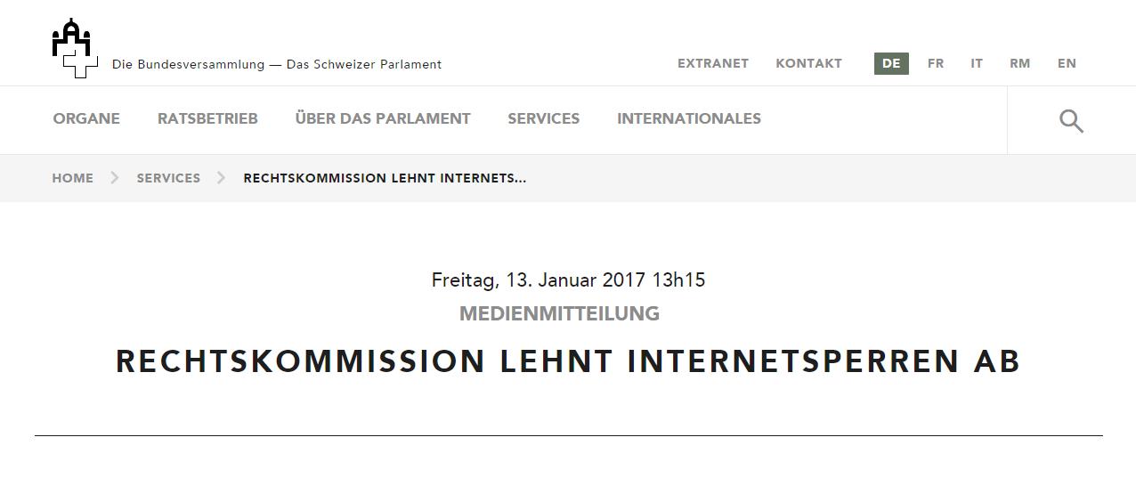 Medienmitteilung Rechtskommission lehnt Internetsperren ab